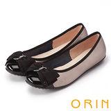 ORIN 典雅輕柔OL 立體雙織帶牛皮蝴蝶結娃娃鞋-古銅
