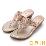 ORIN 魅力新時尚 寬版幾何排鑽楔型夾腳拖鞋-粉色