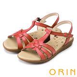 ORIN 簡約舒適 交叉編織牛皮低跟涼鞋-紅色