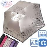 獨家降溫 10℃ 三折碳纖骨 - 柳絮【古典黑】SGS認證/防曬/抗UV/大傘面/折傘-日本雨之戀