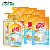 【LION 藍寶】洗碗精-柑橙香(壓頭)x2+柑橙香補充包x6