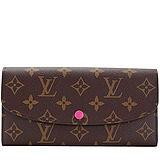 Louis Vuitton LV M41943 EMILIE 新款經典花紋扣式零錢長夾.桃紅 預購