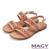 MAGY 異國渡假風 幾何造型簍空真皮平底涼鞋-粉色