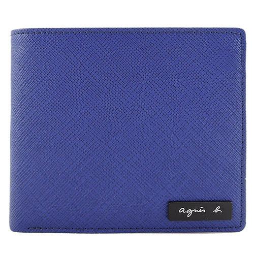 agnes b VOYAGE 鐵牌雙色防刮零錢口袋短夾(紫灰)