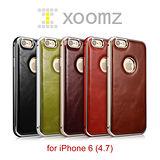 XOOMZ 復古多彩 iPhone 6 (4.7) 真皮背蓋 金屬保護邊框