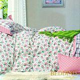【BEDDING】花雨戀情 100%棉雙人加大床包枕套三件式