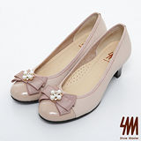 SM-台灣製真皮系列-珍珠蝴蝶結漆皮跟鞋-粉色