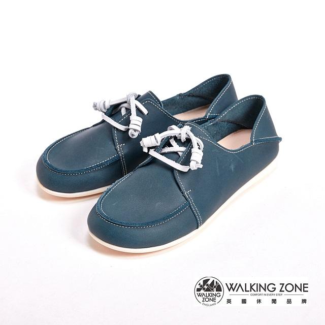 WALKING ZONE 真皮英倫雷根休閒鞋綁帶女鞋-藍(另有米、紅)