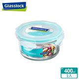 (任選)Glasslock強化玻璃微波保鮮盒 - 圓形400ml