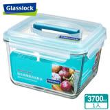 (任選)Glasslock強化玻璃微波保鮮盒 - 長方形附提把3700ml