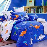 【恐龍樂園】加大純棉四件式涼被床包組