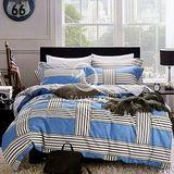 【簡約風度】雙人純棉四件式涼被床包組(藍)
