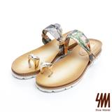 SM-台灣製真皮系列-甜美簍空雕花前包後空平底鞋-藍色