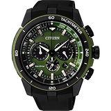 CITIZEN Eco-Drive 名駒悍將計時腕錶-綠/48mm CA4156-01W