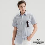 Emilio Valentino范倫提諾英倫簡約短袖襯衫-紅藍條紋