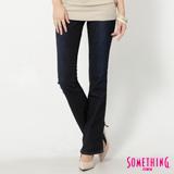 SOMETHING SOPHIA假袋蓋靴型牛仔褲-女-原藍磨