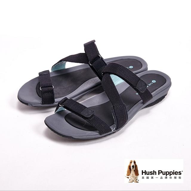 Hush Puppies CANDY IONE經典Z字織帶拖鞋-黑(另有紅)