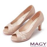 MAGY 玩味造型元素 雙皮質拼接高跟魚口鞋-粉色