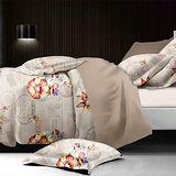 【羽織美】記憶花卉 舒柔棉雙人四件式兩用被床包組