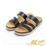 MK-台灣製真皮系列-亮鑽線條牛反毛底平底拖鞋-銀色