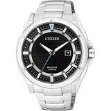 CITIZEN Eco-Drive 超級鈦光動能腕錶-黑/43mm AW1401-50E