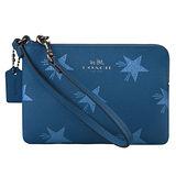 COACH PVC星星圖案L型拉鏈萬用手拿包(藍)