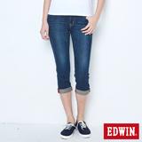 EDWIN MISS EDGE七分牛仔褲-女-拔洗藍