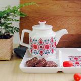 【Homely Zakka】午茶食光北歐紅花紋飾陶瓷500ml咖啡壼/茶壼
