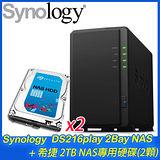 Synology 群暉 DS216play 2Bay NAS+希捷 2TB NAS碟*2(ST2000VN000)