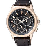 CITIZEN 星辰環球光動能日曆腕錶-黑x玫瑰金框/44mm BU2023-12E