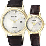 CITIZEN Eco-Drive光動能城市對錶-金/40+29mm AW1232-12A+FE1082-13A