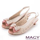 MAGY 甜美優雅 鞋身花型簍空牛皮魚口中跟鞋-粉紅
