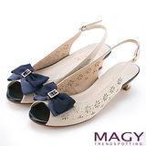 MAGY 甜美優雅 鞋身花型簍空牛皮魚口中跟鞋-米色