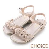CHOiCE 甜美優雅舒適 真皮立體花朵造型厚底涼鞋-粉紅