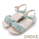 CHOiCE 甜美優雅舒適 真皮立體花朵造型厚底涼鞋-淺藍