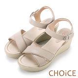 CHOiCE 簡約時尚舒適 寬版交叉牛皮縫線楔型涼鞋-米色