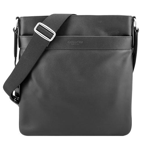 COACH壓印 LOGO全皮革方型斜背扁包(黑)