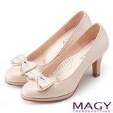 MAGY 美女系專屬 羊絨蝴蝶結鑽飾真皮高跟鞋-粉紅