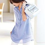 日本portcros 現貨-簡約純棉七分袖長版襯衫上衣(綠松藍/3L)