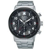 ALBA雅柏 反轉世界三眼計時不鏽鋼腕錶/44mm/VD53-X256D