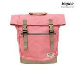 【KOPER】不平帆系列-復古雙釦後背包-蜜桃紅