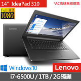 Lenovo IdeaPad 310 14吋《入門級》i7-6500U 2G獨顯 Win10多媒體筆電(80SL001JTW)★送lenovo滑鼠+清潔組+鍵盤膜+滑鼠墊+筆電包
