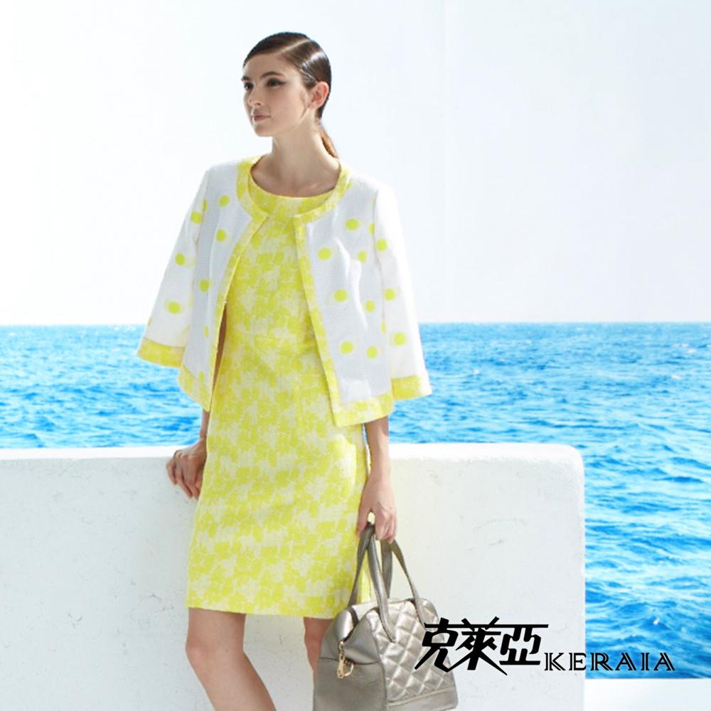 【克萊亞KERAIA】緹花圓領短袖洋裝