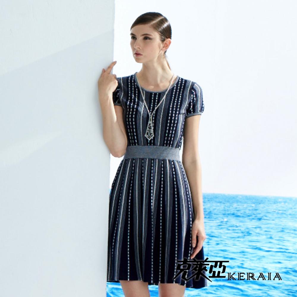 【克萊亞KERAIA】直條紋連身針織洋裝
