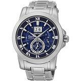 SEIKO Premier 羅馬人動電能萬年曆腕錶-藍/41mm 7D56-0AB0B(SNP113J1)