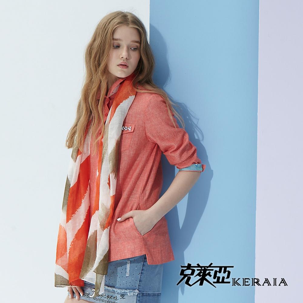 【克萊亞KERAIA】口袋綴飾反摺袖襯衫