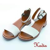 kadia.簡約歐美一字帶寬版低跟涼鞋(白色)