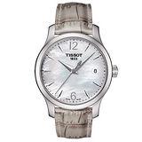 TISSOT-T-CLASSIC-懷舊古典珍珠母貝腕錶(白-34mm-T0632101711700)