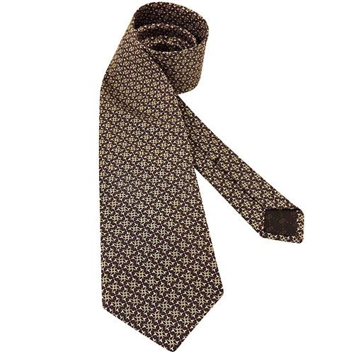GUCCI 環釦圖樣絲質造型領帶-咖啡色