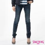 SOMETHING MEIDUSA 雪晶窄直筒牛仔褲-女-石洗藍